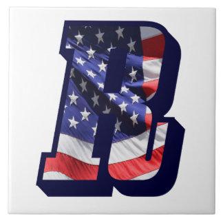 "American Flag Letter ""R"" Large Photo Ceramic Tile"