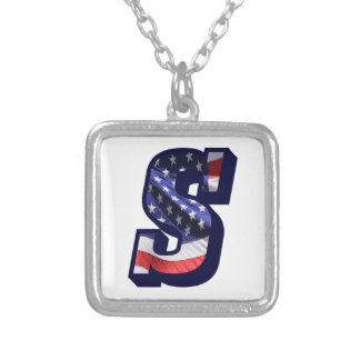 """American Flag Letter """"S"""" Silver Plated Necklace"""