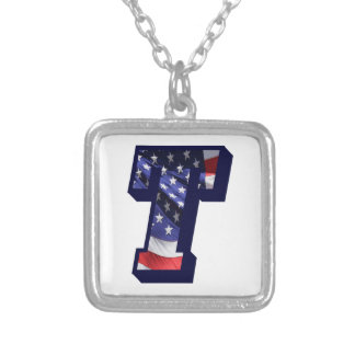 """American Flag Letter """"T"""" Silver Plated Necklace"""