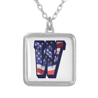 """American Flag Letter """"W"""" Silver Plated Necklace"""