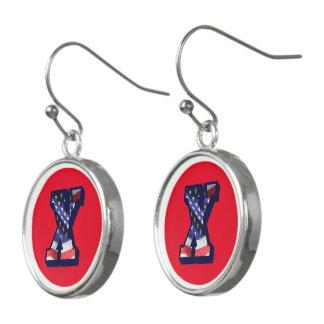 """American Flag Letter """"X"""" Drop Earrings"""
