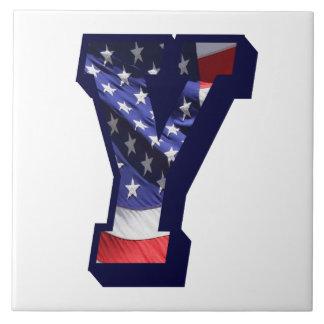 """American Flag Letter """"Y"""" Large Photo Ceramic Tile"""