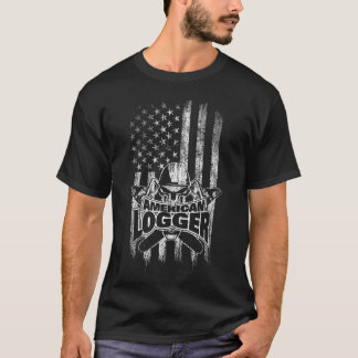 American Flag Logger Skull and Chainsaws T-Shirt