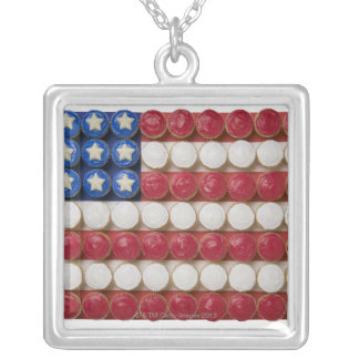 American flag made of cupcakes silver plated necklace