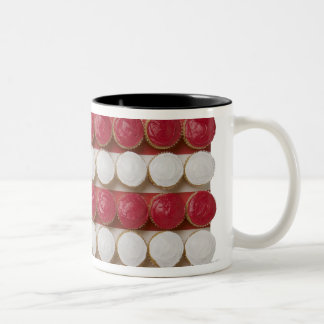 American flag made of cupcakes Two-Tone coffee mug