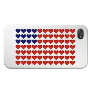 American Flag Made of Hearts iPhone 4 Covers