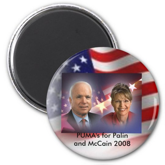 american flag, mccainandpalinsticker, PUMA's fo... 6 Cm Round Magnet