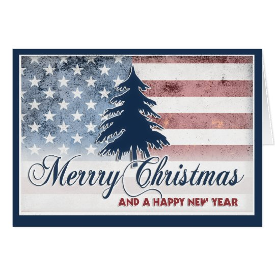 American Flag Merry Christmas Card