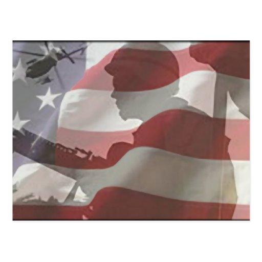 American Flag Military Postcard Pride Freedom 911