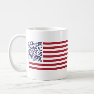 American Flag National Anthem QR Code Basic White Mug
