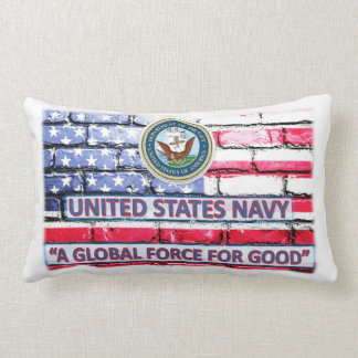 "American Flag Navy Throw Pillow 13"" x 21"""