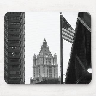 american flag/New York city Mousepads