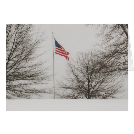 American Flag on a Snowy Day Greeting Card