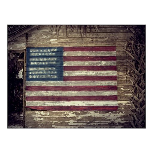 American flag on building poster