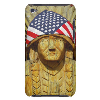 American Flag on Carving of Native American iPod Touch Case
