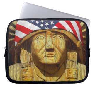 American Flag on Carving of Native American, Laptop Sleeve