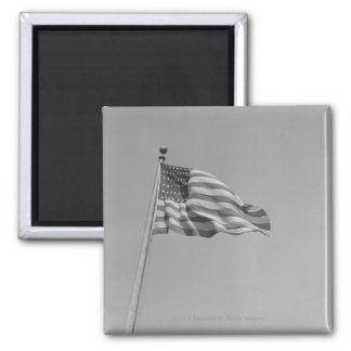 American flag on mast square magnet