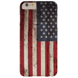 American Flag on Old Wood Grain Barely There iPhone 6 Plus Case