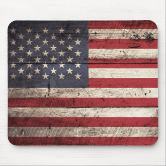 American Flag on Old Wood Grain Mouse Mat