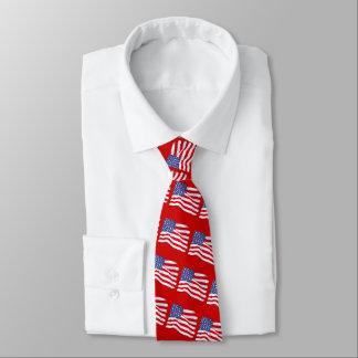 American Flag on Red Background Tie
