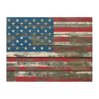 American Flag on Rough Wood Boards Effect Wood Wall Decor