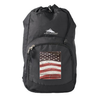 American Flag  on Wood Texture Backpack