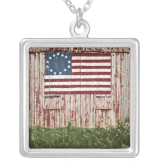 American flag painted on barn silver plated necklace