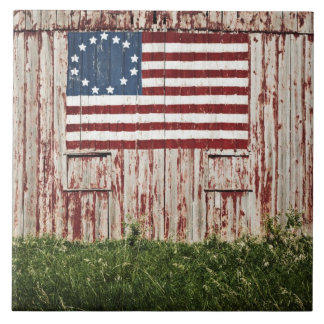 American flag painted on barn tile