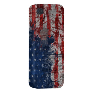 American Flag Painted on Grunge Wall Cover For iPhone 4