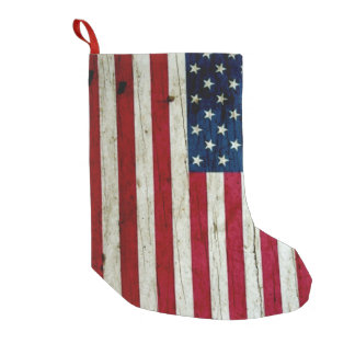 American Flag Painted on Wood Small Christmas Stocking