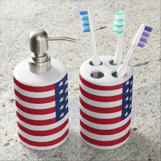 American Flag Patriotic Bathroom Accessories Soap Dispenser And Toothbrush Holder