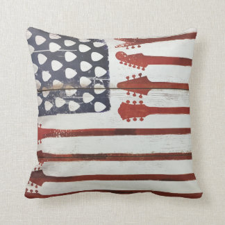American Flag patriotic Guitar Music Cushion