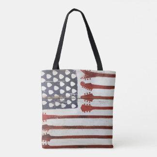 american flag patriotic Guitar Music tote bag