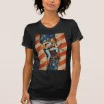 American Flag Patriotic Naughty PinUp CowGirl Shirt