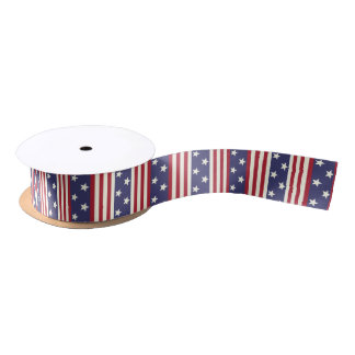 American Flag Patriotic Stars and Stripes USA V2 Satin Ribbon