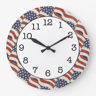 American Flag Pattern Round Wall Clock