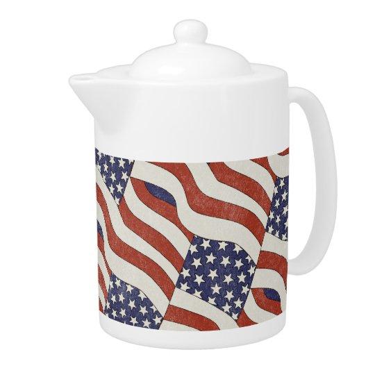 American Flag Pattern Teapot