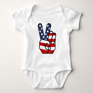American Flag Peace Hand Baby Bodysuit