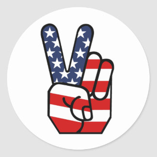 American Flag Peace Hand Round Sticker