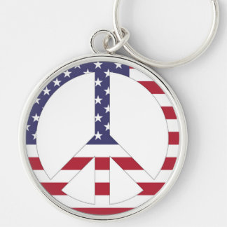 AMERICAN FLAG PEACE SIGN Silver-Colored ROUND KEY RING