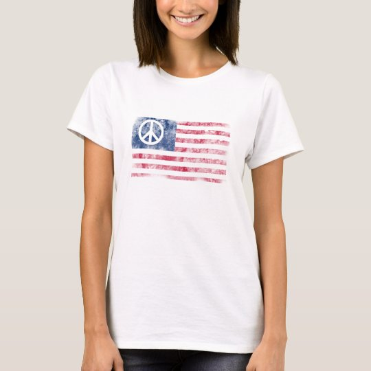 American Flag & Peace Symbol Distressed Design T-Shirt