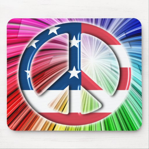 AMERICAN FLAG PEACE SYMBOL MOUSE PADS