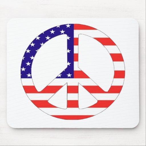 American Flag Peace Symbol Mouse Mat