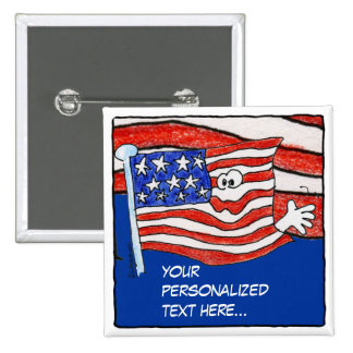 American Flag Personalized Pin Button
