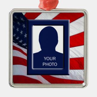 American Flag Photo Frame Premium Ornament