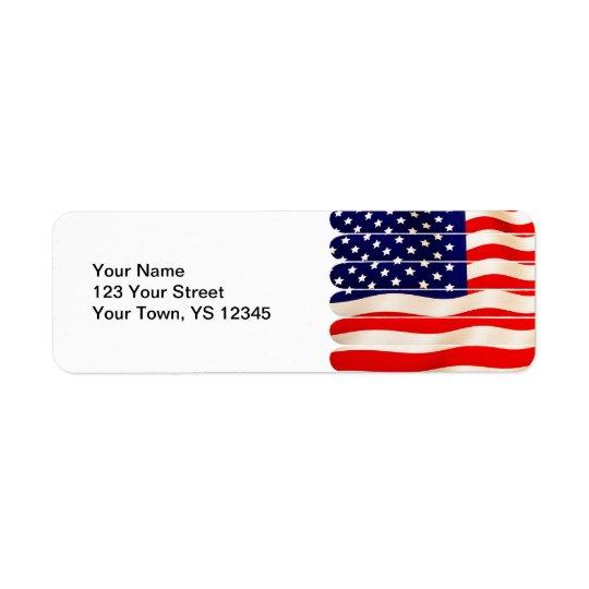 American Flag Popsicle Stick Folkart T Shirt Return Address Label
