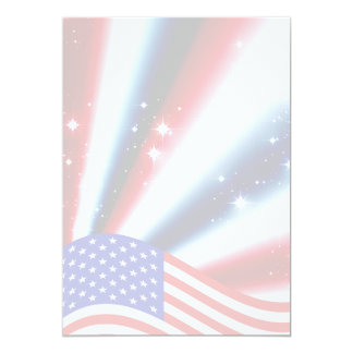 "american flag pride sparkle burst 5"" x 7"" invitation card"