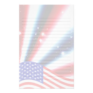 american flag pride sparkle burst custom stationery