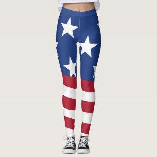 American flag print on women's leggings