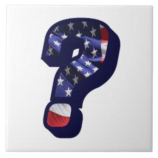 American Flag Question Mark LG Photo Ceramic Tile